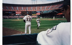 Will Clark preparing to bat for the Giants at Candlestick Park in 1992. That year, the Giants came close to relocation, with an empty stadium ready to be filled in Tampa.