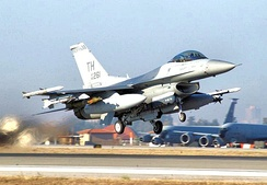 113th Expeditionary Fighter Squadron Block 30C F-16C 86-0261 taking off from Incirlik AB, Turkey on 22 December 2002 during operation Northern Watch just prior to the start of operation Iraqi Freedom.