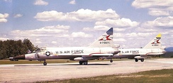 Vermont Air National Guard 134th Fighter-Interceptor Squadron F-102s, on alert at Ethan Allen Air National Guard Base, 1970 Aircraft identified as Convair F-102A-95-CO Delta Dagger 57-871 (Block 90) 57-852. Note different color fin caps.