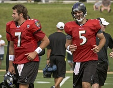 Boller (left) and Joe Flacco during Ravens 2008 Training Camp.