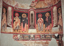 A frieze of figures occupies the zone below the semi-dome in the apse. Abbey of St Pere of Burgal, Catalonia, Spain