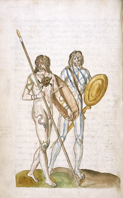 Drawing of two Celtic Britons (c. 1574); one with tattoos, and carrying a spear and shield; the other painted with woad, and carrying a sword and round shield.