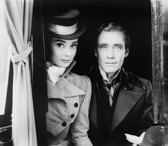 Hepburn and Mel Ferrer on the set of War and Peace