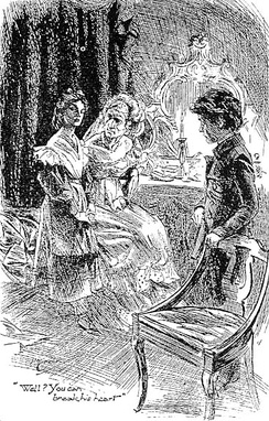 Miss Havisham with Estella and Pip. Art by H. M. Brock