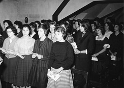 Pupils of the Gymnasium Nonnenwerth, an all-girls Catholic school in 1960