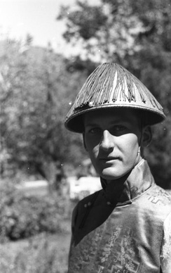 A young Englishman, member of the Secret Intelligence Service, in Yatung, Tibet, photographed by Ernst Schäfer in 1939