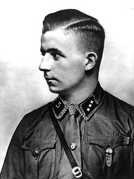 "Goebbels used the death of Horst Wessel (pictured) in 1930 as a propaganda tool[81] against ""Communist subhumans"".[82]"