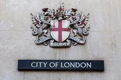"Coat of arms of the City of London. The Latin motto reads Domine Dirige Nos, ""Lord, guide us""."