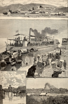 Indochina in 1891 (from Le Monde illustré) 1. Panorama of Lac-Kaï 2. Yun-nan, in the quay of Hanoi 3. Flooded street of Hanoi 4. Landing stage of Hanoi