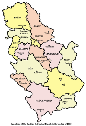 Eparchies of the Serbian Orthodox Church in Serbia (as of 2006)