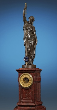 An 1862 monumental conical pendulum clock by Eugène Farcot with a red griotte marble pedestal