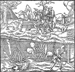 An engraving by Georgius Agricola or Georg Bauer (1494–1555), illustrating the mining practice of fire-setting
