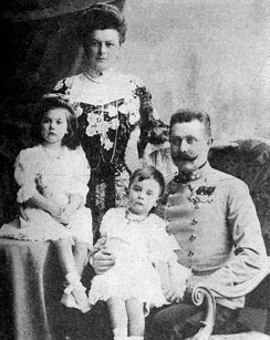 Archduke Franz Ferdinand of Austria and his morganatic wife, Countess Sophie Chotek with their children, Sophie and Maximilian. Photo, 1904.