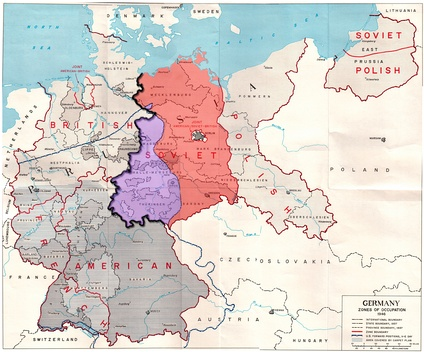 Map of the Allied zones of occupation in post-war Germany, as well as the line of U.S. forward positions on V-E Day. The south-western part of the Soviet occupation zone, close to a third of its overall area was west of the U.S. forward positions on V-E day.