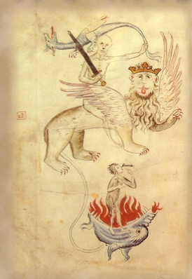From the Apocalypse in a Biblia Pauperum illuminated at Erfurt around the time of the Great Famine. Death sits astride a lion whose long tail ends in a ball of flame (Hell). Famine points to her hungry mouth.