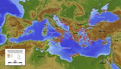 Colonies, 4th century BC: Greek (red tags), and Phoenician (gold)