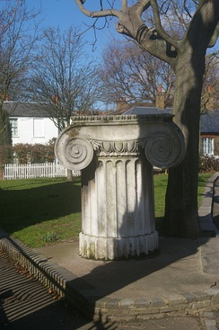 Surviving Ionic capital in Walthamstow by Smirke, all that remains of his former General Post Office Building in London