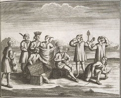 Iroquois engaging in trade with colonists, 1722