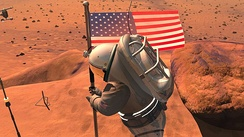 An artist's conception, from NASA, of an astronaut planting a US flag on Mars. A manned mission to Mars has been discussed as a possible NASA mission since the 1960s.