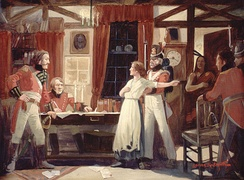 Laura Secord providing advance warning to James FitzGibbon, which led to a British-Indian victory at the Battle of Beaver Dams, June 1813