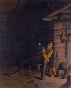 Lincoln as a boy, reading by firelight
