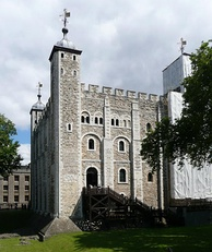 The Tower of London, originally begun by William the Conqueror to control London[87]