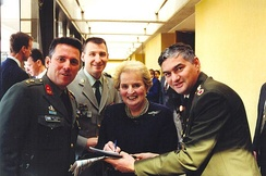 With NATO officers during NATO Ceremony of Accession of New Members, 1999