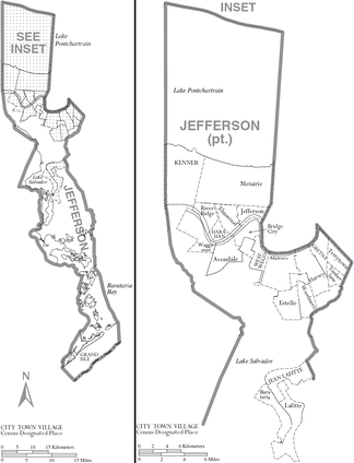 Map of Jefferson Parish with municipal labels