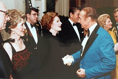 Reagan, British Prime Minister Margaret Thatcher and Strom Thurmond at a state dinner in 1981