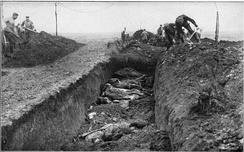 Fallen British and Australian soldiers in a mass grave, dug by German soldiers, 1916 or 1917