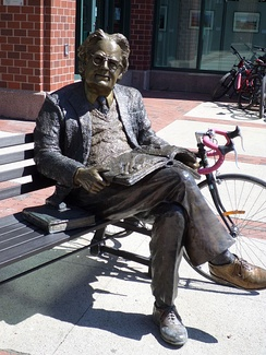 Northrop Frye statue outside the entrance of Moncton Public Library at Blue Cross Centre
