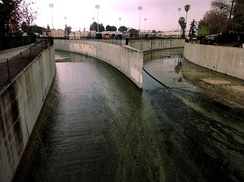 The Arroyo Calabasas (left) and Bell Creek (right) join to form the Los Angeles River