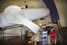 "The large 48"" Oschin Schmidt Camera at Palomar Observatory"