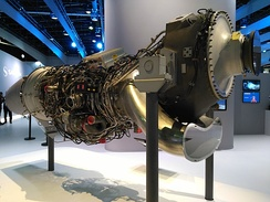 The Europrop TP400 engine on static display at the Paris Air Show, 2017