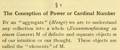 Passage of Georg Cantor's article with his set definition