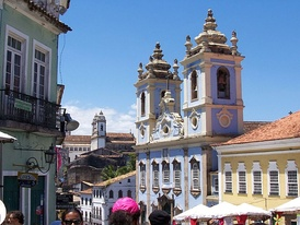 Historical centre of Salvador today – the architecture of the city's historic centre is typically Portuguese.