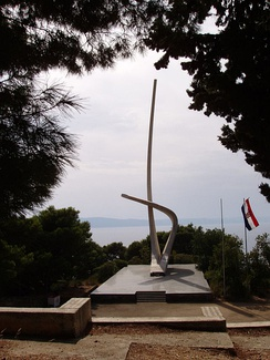 The Seagull Wings monument in Podgora, dedicated to the fallen sailors of the Yugoslav Partisan Navy