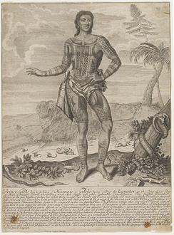 Giolo (real name Jeoly) of Miangas, who became a slave in Mindanao, and bought by William Dampier together with Jeoly's mother, who died at sea. Jeoly was exhibited in London in 1691 to large crowds as a sideshow, until he died of smallpox three months later.[45][46][47][48]