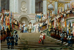 Reception of the Grand Condé at Versailles following his victory at Seneffe. The Grand Condé advances towards Louis XIV in a respectful manner with laurel wreaths on his path, while captured enemy flags are displayed on both sides of the stairs. It marked the end of Condé's exile, following his participation to the Fronde.