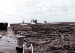 Olna replenishing frigates as part of the Bristol Group en route to the Falklands War in 1982