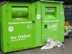 Oxfam clothing and shoe bank in the United Kingdom