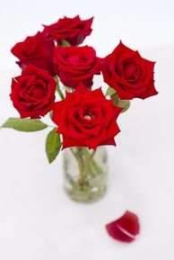 Flowers, such as red roses (pictured), are often sent on Valentine's Day