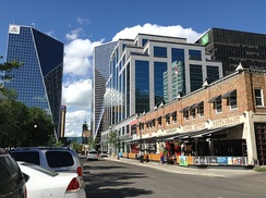 Skyline of Downtown Regina in 2016. The city has been working on revitalizing the economic viability of the downtown core in the past decade.