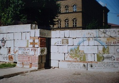 Barricade erected in Riga to prevent the Soviet Army from reaching the Latvian Parliament, July 1991