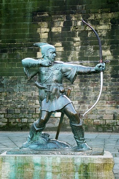 Statue of Robin Hood near Nottingham Castle by James Woodford, 1951