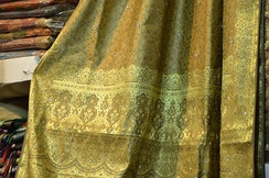 A traditional Banarasi sari with gold brocade