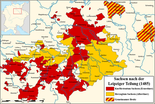 Saxony partitioned according to the 1485 Treaty of Leipzig:  Ernestine lands: Wittenberg and southern Thuringia  Albertine lands: Dresden and northern Thuringia