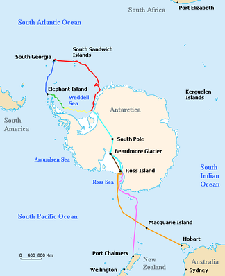 Outline of Antarctica coast, with different lines indicating the various journeys made by ships and land parties during the expedition