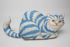 A Cheshire cat stuffed toy from The Children's Museum of Indianapolis