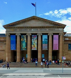 Art Gallery of New South Wales Sydney with Hermitage Exhibition banners, November 2018.